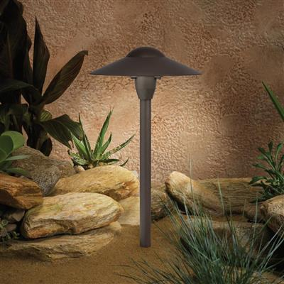 "Kichler Lighting 15410AZT 8"" Dome Short Stem 12V Path Light Textured Architectural Bronze"