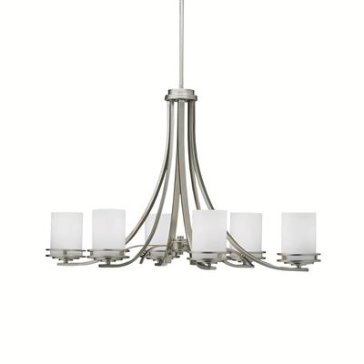 "Kichler Lighting 1673NI Hendrik™ 22.75"" 6 Light Chandelier with Satin Etched Cased Opal Glass Brushed Nickel"