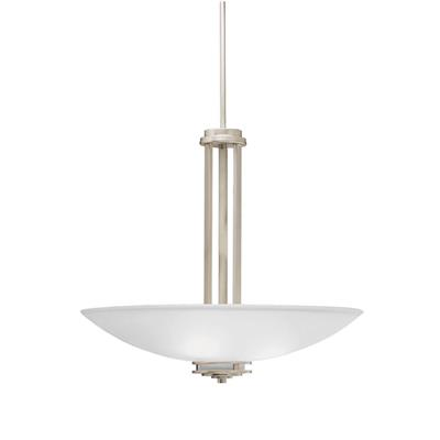 "Kichler Lighting 3275NI Hendrik™ 22"" 3 Light Inverted Pendant with Satin Etched Cased Opal Glass Brushed Nickel"