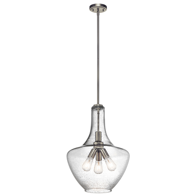 "Kichler Lighting 42190NI Everly™ 22.75"" 3 Light Bell Pendant Clear Seeded Glass Brushed Nickel"
