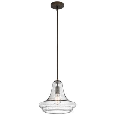 "Kichler Lighting 42328OZCS Everly™ 11.25"" 1 Light Trumpet Pendant Clear Seeded Glass Olde Bronze®"