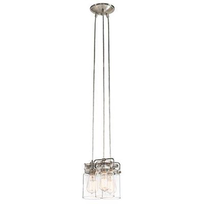 "Kichler Lighting 42869NI Brinley™ 7.75"" 3 Light Pendant with Clear Glass Brushed Nickel"