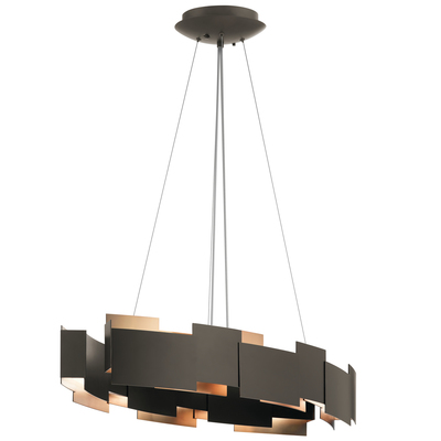 "Kichler Lighting 42993OZLED Moderne 16.25"" LED Oval Chandelier Olde Bronze®"