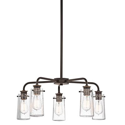 "Kichler Lighting 43058OZ Braelyn™ 11.25"" 5 Light Chandelier with Clear Seeded Glass Olde Bronze®"