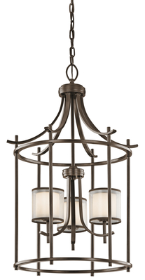 "Kichler Lighting 43139MIZ Tallie™ 20"" 3 Light Foyer Pendant Mission Bronze"