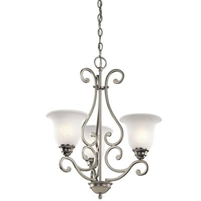 "Kichler Lighting 43223NI Camerena™ 24.5"" 3 Light Chandelier with White Scavo Glass Brushed Nicke"