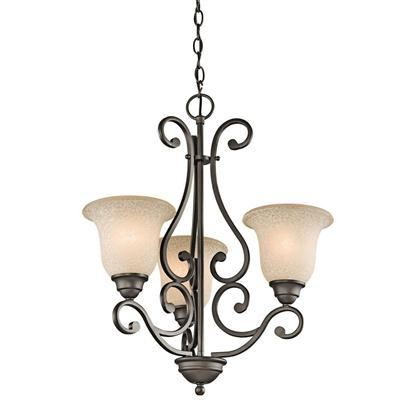 "Kichler Lighting 43223OZ Camerena™ 24.5"" 3 Light Chandelier with White Scavo with Light Umber Inside Tint Olde Bronze®"