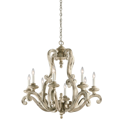 Kichler Lighting 43265DAW Hayman Bay™ 8 Light Chandelier Distressed Antique White