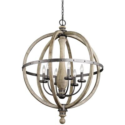 Kichler Lighting 43327DAG Evan™ Pendant 6 Light Chandelier Distressed Antique Gray