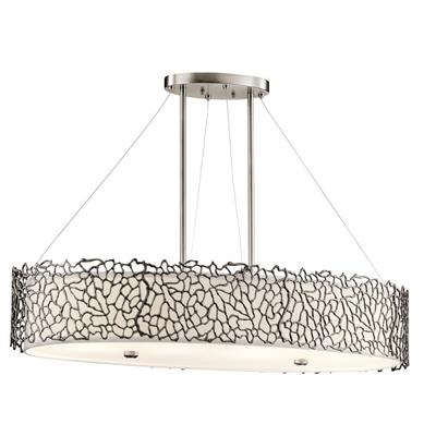Kichler Lighting 43348CLP Silver Coral 4 Light Oval Chandelier / Pendant Classic Pewter