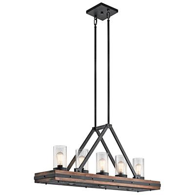 "Kichler Lighting 43491AUB  Colerne™ 46.5"" 8 Light Linear Chandelier Clear Seeded Glass Auburn Stained"