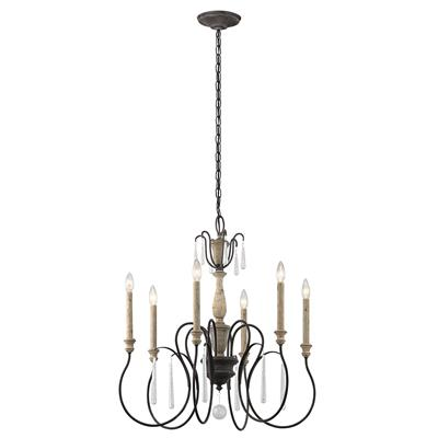Kichler Lighting 43617WZC Kimblewick™ 6 Light Chandelier Weathered Zinc