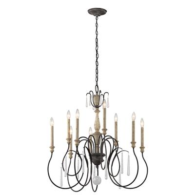 Kichler Lighting 43618WZC Kimblewick™ 9 Light Chandelier Weathered Zinc