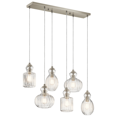 Kichler Lighting 43950NI Riviera 6 Light Linear Chandelier Brushed Nickel