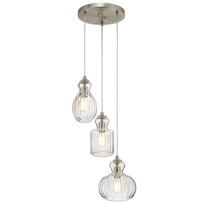 Kichler Lighting 43952NI Riviera 3 Light Pendant Brushed Nickel