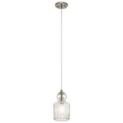 "Kichler Lighting 43957NI Riviera 5.75"" 1 Light Mini Pendant Brushed Nickel"