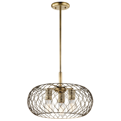 Kichler Lighting 43958NBR Devin 3 Light Pendant Natural Brass