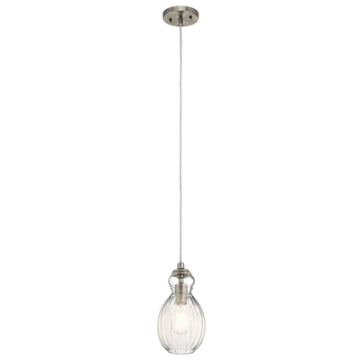 "Kichler Lighting 43959NI Riviera 6"" 1 Light Mini Pendant Brushed Nickel"