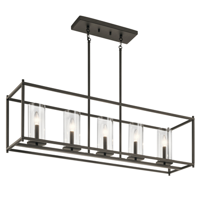 "Kichler Lighting 43995OZ Crosby 13.75"" 5 Light Linear Chandelier with Clear Glass Olde Bronze®"