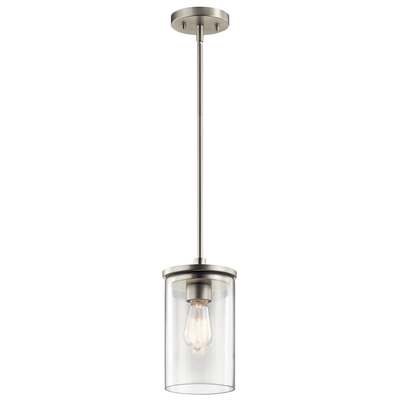 "Kichler Lighting 43996NI Crosby 10.75"" 1 Light Mini Pendant with Clear Glass Brushed Nickell"