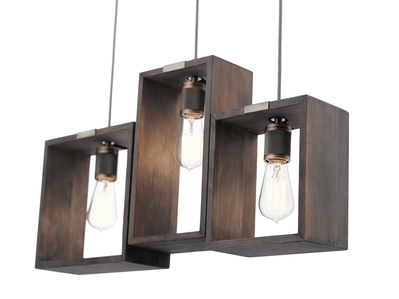 Kichler Lighting 44215CLP Industrial Frames 3 Light Linear Chandelier Classic Pewte