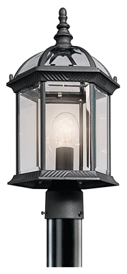 Kichler Lighting 49187BK Barrie Outdoor 1 Light Post Mount