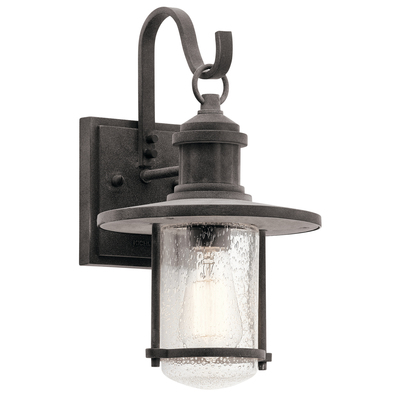 "Kichler Lighting 49192WZC Riverwood™ 14.25"" 1 Light Wall Light Weathered Zinc"