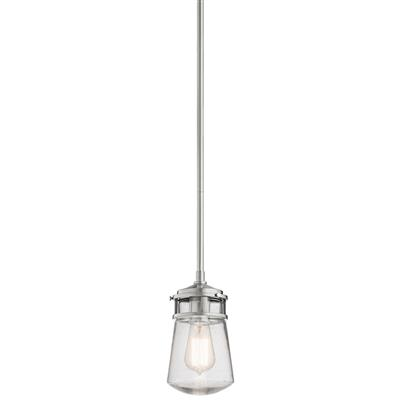 "Kichler Lighting 49446BA Lyndon™ 9.5"" 1 Light Pendant with Clear Seeded Glass Brushed Aluminum"