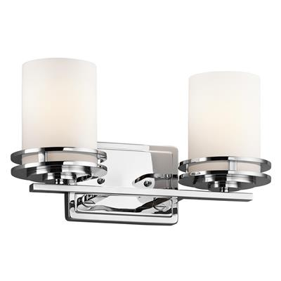 "Kichler Lighting 5077CH Hendrik™ 14.5"" 2 Light Vanity Light with Satin Etched Cased Opal Chrome"