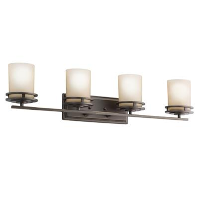 "Kichler Lighting 5079OZ Hendrik™ 33.75"" 4 Light Vanity with Light Umber Etched Glass Olde Bronze®"