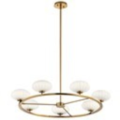 "Kichler Lighting 52225FXG Pim™ 40"" 7 Light Round Chandelier with Satin Etched Cased Opal Glass Fox Gold"