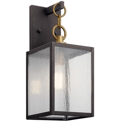 "Kichler Lighting 59005WZC Lahden™ 12"" 1 Light Outdoor Wall Light with Clear Seeded Glass Weathered Zinc"