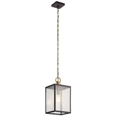 "Kichler Lighting 59008WZC Lahden™ 17.25"" 1 Light Outdoor Convertible Pendant/Semi Flush with Clear Seeded Glass Weathered Zinc"