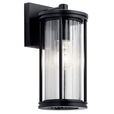 "Kichler Lighting 59022BK Barras 11.5"" 1 Light Outdoor Wall Light with Clear Ribbed Glass Black"
