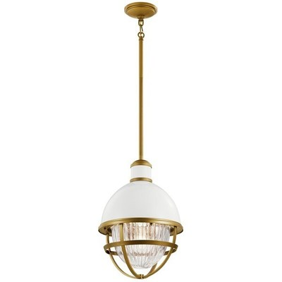 Kichler Lighting 59053WH Tollis™ 18 inch 1 Light Hanging Pendant with Clear Ribbed Glass in White and Natural Brass