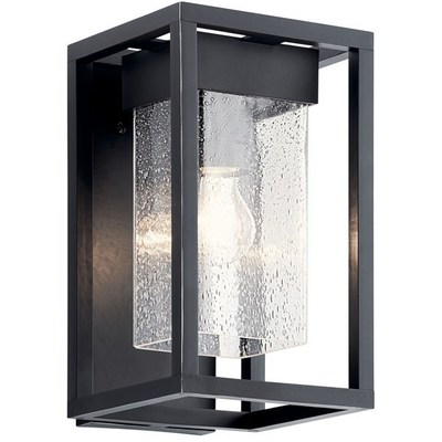"Kichler Lighting 59060BSL Mercer 12"" 1 Light Wall Light Clear Seeded Glass Black with Silver Highlights"