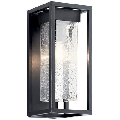 "Kichler Lighting 59061BSL Mercer 16"" 1 Light Wall Light Clear Seeded Glass - Black with Silver Highlights"