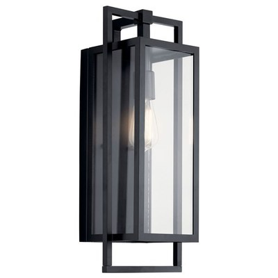 "Kichler Lighting 59087BK Goson™ 20"" 1 Light Wall Light with Clear Glass Black"