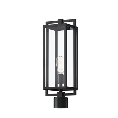 "Kichler Lighting 59088BK Goson™ 20"" 1 Light Post Light with Clear Glass Black"