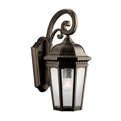 "Kichler Lighting 9033RZ Courtyard™ 17.75"" 1 Light Wall Light Rubbed Bronze™"