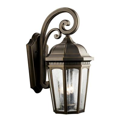 "Kichler Lighting 9034RZ Courtyard™ 22.25"" 3 Light Wall Light - Rubbed Bronze"