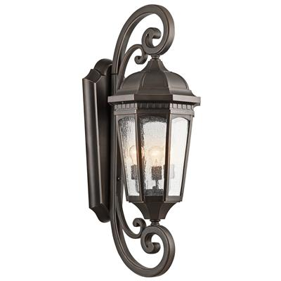 "Kichler Lighting 9060RZ Courtyard™ 40.5"" 3 Light Wall Light Rubbed Bronze™"